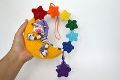 Crochet Baby Mobile Animals Baby Crib Mobile Cat by CrochetRedCat