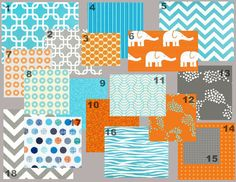 Modern Elephant Aqua/orange (baby Bedding Crib Set)