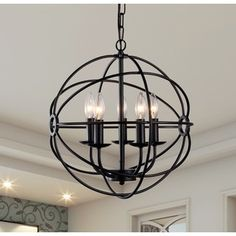 Meila 5-light Black 16-inch Spherical Chandelier   Overstock.com Shopping - The Best Deals on Chandeliers & Pendants