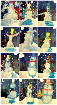 "Kid art project based on the book ""Snowmen at Night"". Uses tissue paper backgrounds painted down with Mod Podge, white paper cut-outs for the snowy field/moon, painted snowmen."