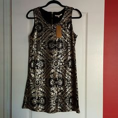 HUGE SALENWT Sequined Dress Brand new.  Gold and black sequined dress from Francesca's. Francesca's Collections Dresses Asymmetrical