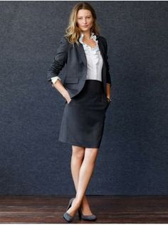 A nice example of a suit for a woman.   This is just an example, not a brand endorsement.