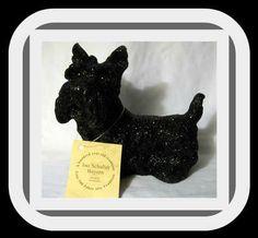 Ino Schaller Bayern~PAPER MACHE BLACK SCOTTIE DOG FIGURE-MADE IN GERMANY