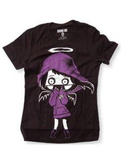 Akumu Ink Angel Of Death Gothic Girl Cartoon Black Short Sleeved Tshirt