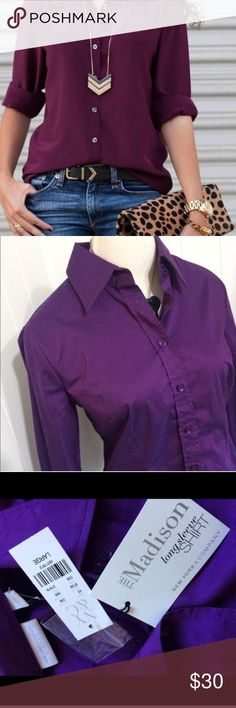 Gorgeous Purple Button Up Large New with tags. Royal purple. The Madison. Exact item in last 3 photos New York & Company Tops Button Down Shirts