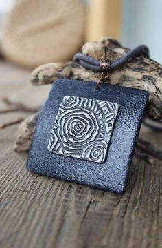 Polymer Clay Necklace, Polymer Clay Pendant, Polymer Clay Art, Clay Beads, Polymer Clay Projects, Ceramic Pendant, Ceramic Jewelry, Jewelry Crafts, Handmade Jewelry