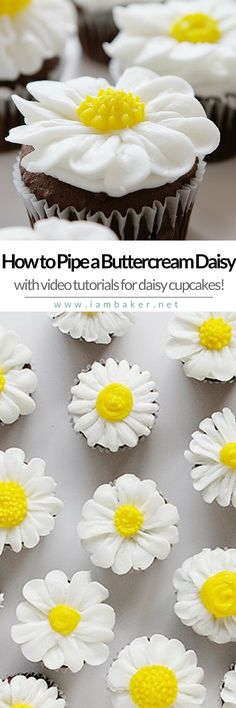 Love flower cupcakes? Here's a tutorial on how to pipe a buttercream daisy for your daisy cupcakes. An easy decorating technique to create that simple and sweet cupcake! More easy dessert recipes @iambaker #iambakerdessert