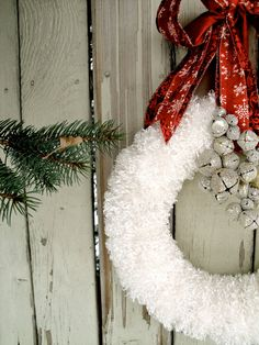 White Christmas Wreath / red bow / silver bells