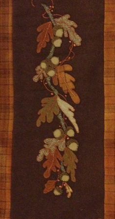 Wool Applique Oak Leaves by Louise Jalowiec of WoolWorksCottage.