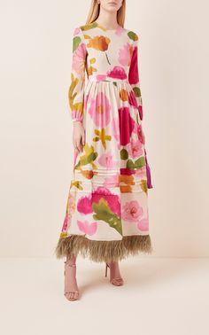 Pemberly Feather-Embellished Silk Maxi Dress by La DoubleJ Quirky Fashion, Colorful Fashion, Dress Outfits, Fashion Dresses, Classy Outfits, Nice Dresses, Style Inspiration, Clothes For Women, Womens Fashion