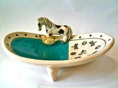 Soap Dish with Horse and Bird by tilebyfire on Etsy, $55.00
