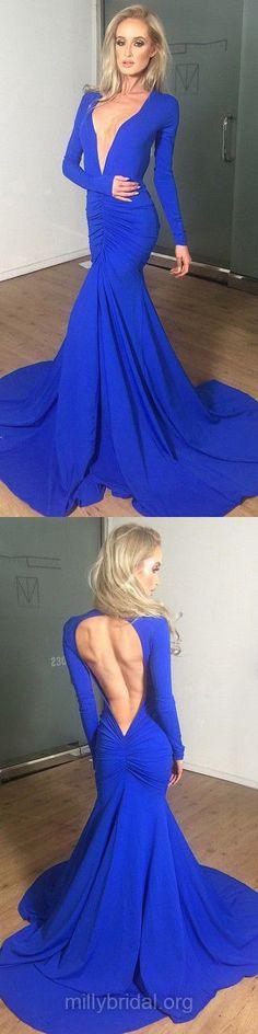 Blue Prom Dresses, Trumpet/Mermaid Formal Dresses, V-neck Jersey Party Dresses, Court Train Long Sleeve Evening Dresses, Open Back Prom Dresses