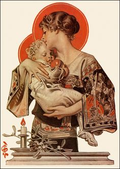 Leyendecker 1922 - J.C. Leyendecker, if not THE best commercial illustrator of the 20th century, certainly one of my top 10 favorites.  By the way,this is a BAD example of motherhood, or at least a careless one...look at that long sleeve dangling over an open flame while she holds a CHILD!  LOL