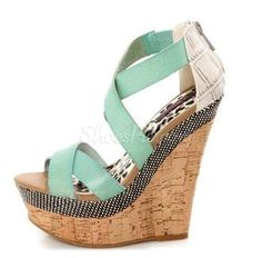 awesome Cool Contrast Color Wedge Sandals