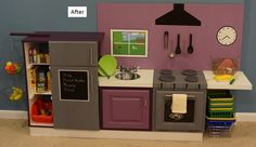 Cute kids kitchen from Skocik Money Pit: DIY Play Kitchen. She used a TV stand on its side, above-refrigerator cabinet, and door.