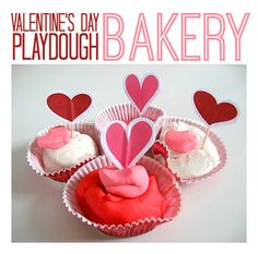 Fun playdough play idea for Valentine's Day. Such a simple way to extend the play. My daughter loves turning play dough into a pretend play bakery.