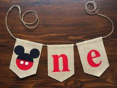 This Mickey Mouse one birthday banner is the perfect size to hang across your little ones highchair for their birthday party! Its also great for