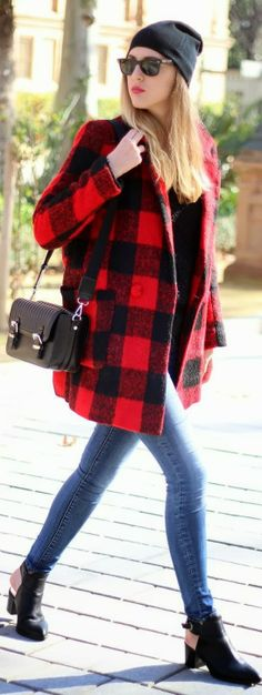Red coat with Skinny