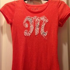 Miss me shirt Beautiful orange-red color lace and sparkle M Miss Me Tops Tees - Short Sleeve