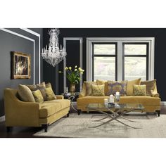The Visconti 2-piece set offers appealing design with timeless T-cushion seats, padded in foam filled comfort, with elegant matching pillow accents, and noticeable splayed bracket feet supports with nailhead trimmings.