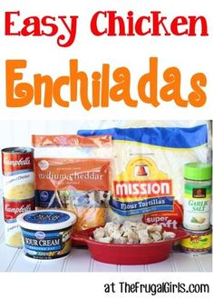 Easy Chicken Enchiladas Recipe from this easy dinner recipe will have your family begging for an Enchilada SO simple and delicious Healthy Meals For Kids, Quick Easy Meals, Easy Dinner Recipes, Kids Meals, Delicious Recipes, Easy Recipes, Healthy Recipes, Cheap Recipes, Easy Dinners