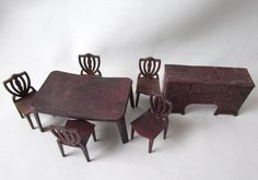 Retro Dollhouse Furniture Table and Chairs and Hutch in Brown Plastic Vintage Miniature
