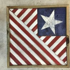 Rustic Reclaimed Wood Patriotic Wall Quilt Block by DanteDesignsCrafts on Etsy Barn Quilt Designs, Barn Quilt Patterns, Quilting Designs, Flag Quilt, Patriotic Quilts, Quilt Blocks, Wood Block Crafts, Pallet Crafts, Wood Projects