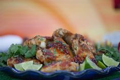 Up your tailgate game with lime, cilantro and maple chicken wings Maple Chicken, Grilled Chicken Wings, Game Day Snacks, Buffalo Wings, Coriander Seeds, Antipasto, Fish And Seafood, Cilantro, Entrees