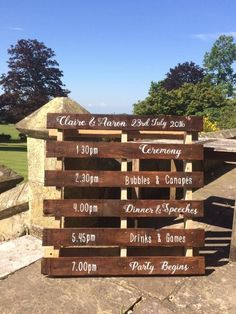 Browse our range of signage for hire, or create something bespoke as a memory of your wedding day. Our wedding signage is stunning. Order Of The Day, Wedding Signage, Pallet Signs, Canapes, Bride Groom, Our Wedding, Drinks, Party, Bespoke