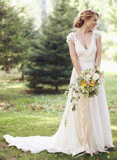 Robes de mariée - $146.69 - Forme Princesse Col V Traîne mi-longue Mousseline de soie Robe de mariée avec Plissé dentelle Fleur(s) (0025095361)