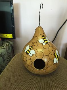 Handcrafted and Painted Martin or Kettle Gourd Large Bird House Bumble Bees #Handcrafted