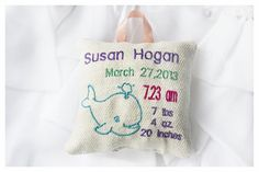 Whale Personalised birth Announcement Pillow New Baby by KoTshop, $20.00