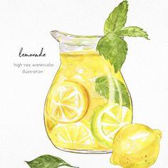 Lemon Watercolor, Watercolor Food, Watercolor Images, Watercolor Illustration, Watercolor Paintings, Watercolour, Food Painting, Jar Painting, Lemon Art