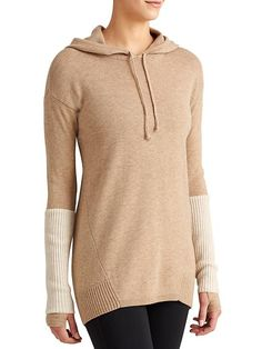 Merino Nopa Hooded Sweater - The 100% Merino wool sweater with a sweet ombré color and sporty, rib-knit sleeves that push up to reveal thumbholes.