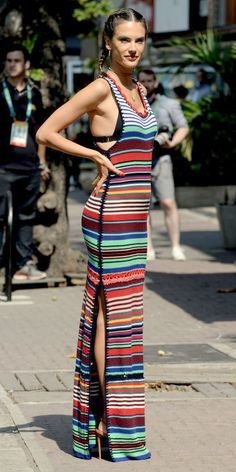 Alessandra Ambrosio heaped on the color for an appearance on a small segment with Al Roker and Matt Lauer in a cheery rainbow-y striped maxi dress, because when in Rio.
