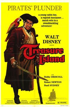 Treasure Island (1950) with Robert Newton (Long John Silver), Bobby Driscoll (Jim Hawkins)