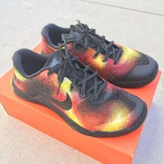 the latest e2840 36622 Custom Painted  Solar Flare  Galaxy Nike Metcon 2 Athletic Shoes