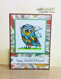 KOTM Monday with Angeline - Happy, Thankful & Blessed #scrappyscrappy #unitystamp #kotm #card