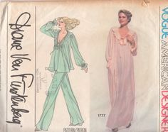 Vogue 1777 1970s Misses  V Neck Nightgown Top Wide Leg Pants Pajamas Designer Diane Von Furstenberg by mbchills