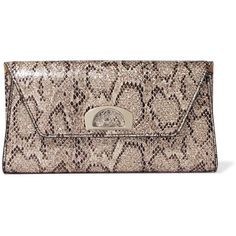Christian Louboutin Vero Dodat metallic snake-effect leather clutch ($1,200) ❤ liked on Polyvore featuring bags, handbags, clutches, snake print, leather handbags, leather clutches, transparent handbags, genuine leather purse and transparent purse