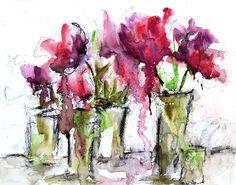 Expressieve Tulip bloemen aquarel schilderen  Abstract Floral