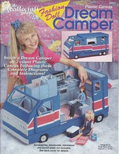 Fashion Doll Dream Camper and Fashion Doll Camper Accessories Two Plastic Canvas Books Plastic Canvas Books, Plastic Canvas Patterns, Best Camping Hammock, Outdoor Camping, Canvas Designs, Camping Equipment, Craft Patterns, Booklet, Fashion Dolls