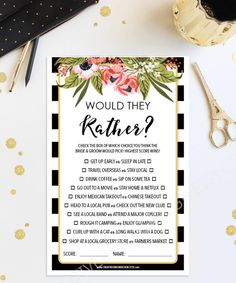 Would They Rather Game Bridal Shower Game by CreativeUnionDesign