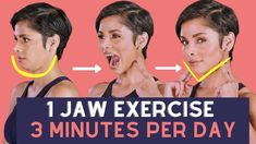 ONE JAW EXERCISE for THREE MINUTES per day to get a FIRM FACE Jaw Exercises, Facial Exercises, Facial Yoga, Face Facial, Gym Workout For Beginners, Workout Videos, Yoga Videos, Workouts, Face Massage