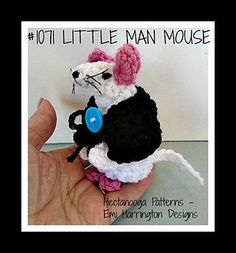 1071 - LITTLE MAN CROCHET MOUSE, very cute mouse! Make into girl mice or boy mice. Instructions included for everything seen in the photos: mouse, clothing, glasses.