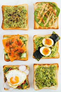 Try these 6 irresistible Japanese Twists on Avocado Toast! Add some creative toppings like ramen egg, furikake, or sesame oil on creamy mashed or sliced avocado! #avocadotoast #snack #avocado | Easy Japanese Recipes at JustOneCookbook.com Avocado Toast, Mashed Avocado, Avocado Salad, Easy Japanese Recipes, Asian Recipes, Healthy Recipes, Healthy Nutrition, Japanese Food, How To Prepare Avocado