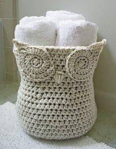 Crochet Pattern ~ Cute Owl Basket ~ Home Decor ~ Crochet Pattern