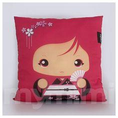 "Red Pillow, Girls Pillow, Kawaii Girl, Decorative Pillow, Geisha Girl, Kokeshi, Japanese Doll, Home Decor, Room Decor, Cushion, 16 x 16"""