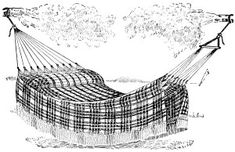 black and white clipart, old fashioned plaid hammock, outdoor bed illustration, vintage hammock clip art, vintage summer graphics