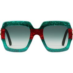 Gucci Oversize Square-Frame Acetate Sunglasses (485 645 LBP) ❤ liked on Polyvore featuring accessories, eyewear, sunglasses, women, green glasses, red glasses, glitter sunglasses, acetate sunglasses and green lens glasses